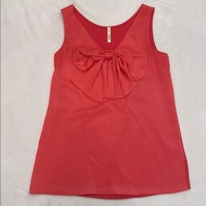 Coral bow front sleeveless top